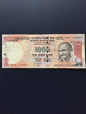 Circulated Indian Rupees 1000 Bank Notes. Ideal For Collection.