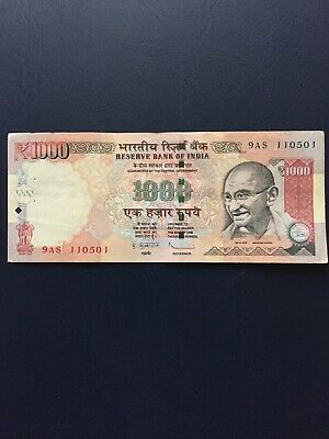 Outmoded Indian Rupees 1000 Bank Notes. Ideal For Collection.