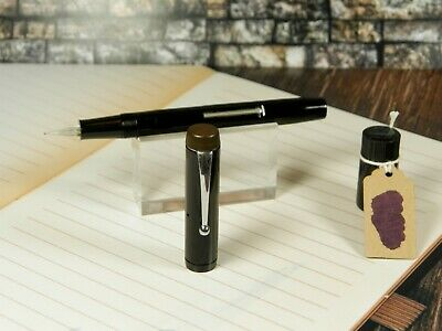 "Vintage ""Pitman's College"" Fountain Pen-Jet Black-Glass Nib-England c.1930s"