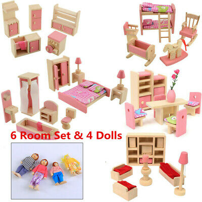DIY Wooden Furniture Dolls House Miniature 5 Room Set Doll For Kid Pretend Play