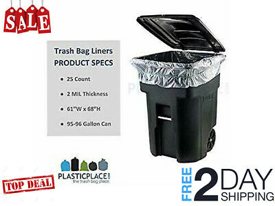 3e8755fe485361 96 GALLON WHEELED TRASH CAN Lid Garbage Container Outdoor Waste Bin 25 Count