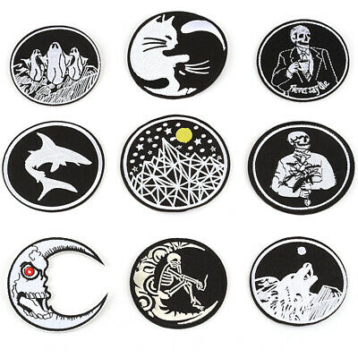 Black White Iron-on Patch Sew Embroidery Round Applique Self-adhesive Badge