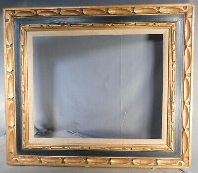 Vintage Spanish Revival Carved Gilt Wood Gold Black Baroque Picture Frame 16x20