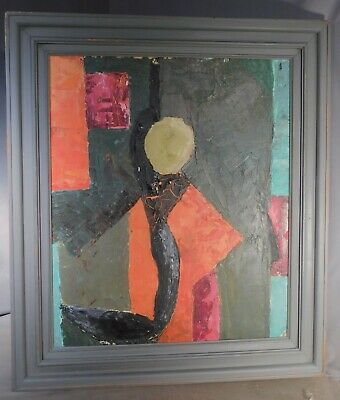 Vintage Modern Abstract Oil Painting COLOR Brutalist Red Kimono Cubist IMPASTO