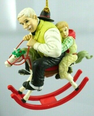 Gramps At The Reins Rocking Horse Christmas Ornament 1933 SEPS Curtis Publish
