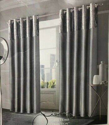 "Sienna Home Silver Grey Manhattan Crushed Velvet Band Eyelet Curtains 90"" x 72"""