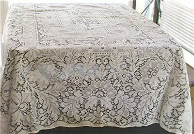 "VTG CREAM WHITE FLORAL LACE TABLECLOTH ROUNDED CORNERS 58"" x 74"""