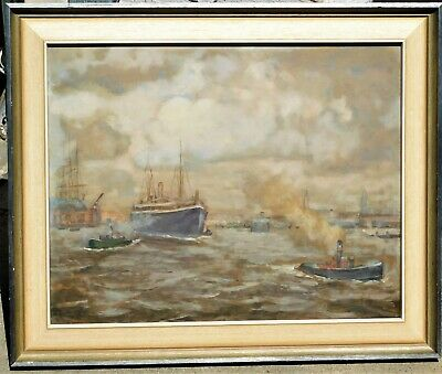 Early 20th Century New York Harbor Scene 14.5 x 18.5 mystery artist