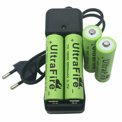 4pcs Batterie 18650 8800mAh 3.7V Li-ion Rechargeable TR Battery with EU Chargeur