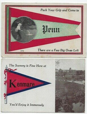 "Pair of ""Pennant Style"" Postcards, North Dakota Towns Early 1900's  0610-21"