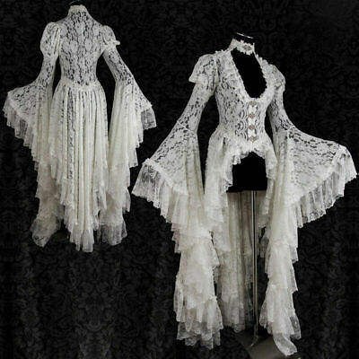 Victorian Women Steampunk V Neck Lace Irregular Hem Flare Sleeve Dress Costume