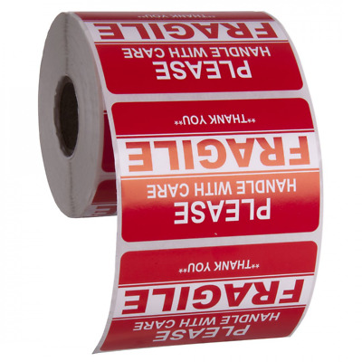 """2""""x3"""" Fragile Glass Sticker Handle Bright Red Warning Shipping 1 Roll/500 Label"""