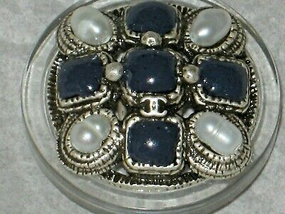 Chanel  Metal Cc Logo Front  Blue Glass Pearl Button  22 Mm / Around 1 '' New