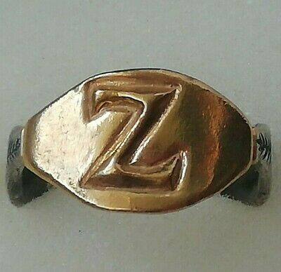 "Antique Ancient Roman Gold Silver Ring Inscribed Latin letter "" Z "" Very Fine"