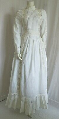VINTAGE LAURA ASHLEY VICTORIAN STYLE WEDDING DRE SZ 12  FIT 8(Made in Wales UK)