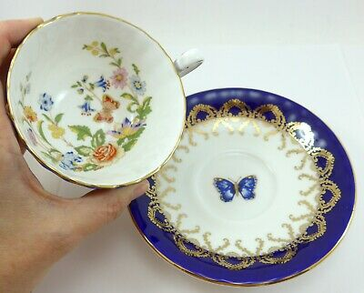 Beautiful Blue Aynsley Tea Cup and Saucer Flowers and Butterfly