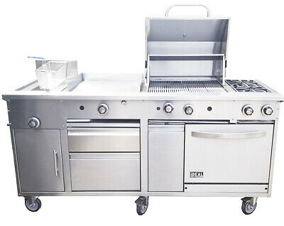 "New. Food Cart 72"". All in one, Griddle, Fryer, Oven, Grill, Drawer. Made in USA"