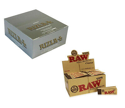 Rizla King Size Silver Rolling Papers And Raw Hemp Natural Unrefined Tips