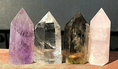 4pcs Amethyst Pink Clear Citrine Quartz Crystal Obelisk Pyramid Wand Point Y5