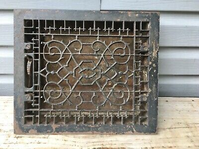 Antique Vtg Cast Iron Heat Grate Floor Wall Register Salvaged Ornate w/ Vents