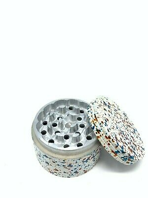 4 Piece Magnetic 2.5 Inch White Tobacco Spice Metal Grinder w/ Sharp Teeth