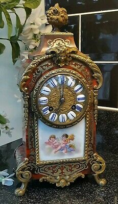 Antique Boulle and Sevres Porcelain bracket Clock By Japy Freres