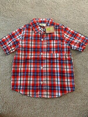 NWT Crazy8,Toddler Boys Red Plaid Button Up Shirt,short Sleeve,Size 3T