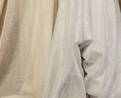 "SHEER Faux LINEN FABRIC METALLIC BY THE YARD,110"" wide, sold by yard o roll."