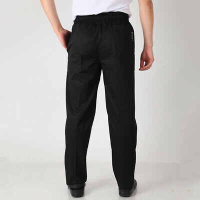 Hot Chef Pants Men Black Working Trousers Hotel Kitchen Loose Uniform Bottoms