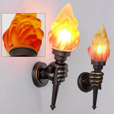 Modern Vintage Torch Lamp Loft Iron Industrial Rustic Sconce Wall Light 1 pair