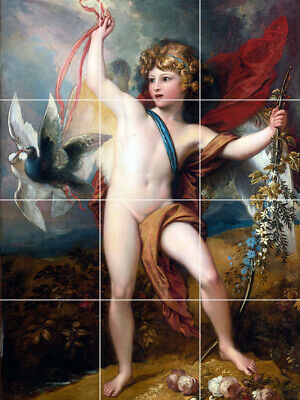 "24""X18"" Tile Floor Medallion cupid angel cherub releasing doves flowers garden"