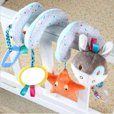 Infant Bed Stroller Crib Plush Doll Toys Animals Spiral Rattle Baby Comic Toys