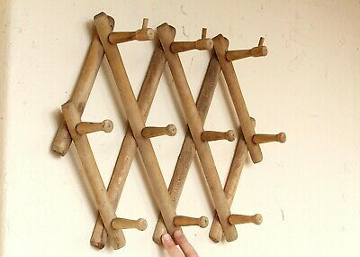 10 Hook Torched Wood Wall Mounted Expandable Accordion Peg Coat Rack Hanger