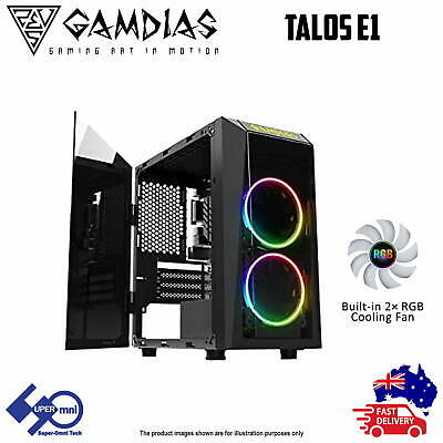 PC Computer Case Gamdias Talos E1 Tempered Glass Micro-ATX with 2x120mm RGB Fans