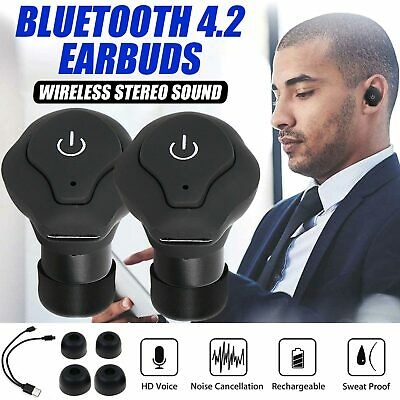 Bluetooth Wireless Headphones Earbuds Stereo Noise Cancelling Headset