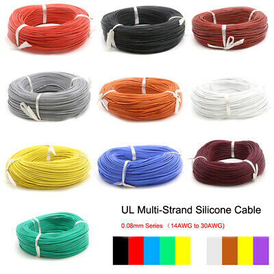 Silicone Flexible Cables Coloured UL Strand Wire 14/16/18/20/22~30awg 5/10/20M