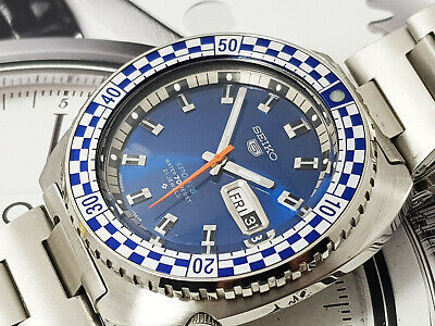 Nice rare Vintage Seiko 5 Sports 6119-7173 Racing Auto Watch Full Restore rally