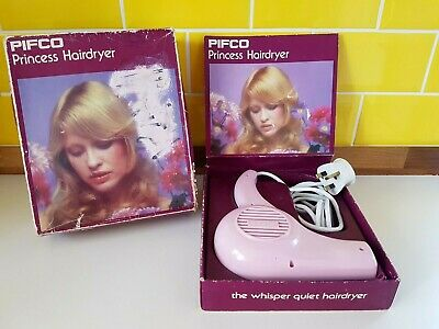 Vintage PIFCO Princess Pink Hairdryer Retro Fully Working Film Prop 1960's Boxed