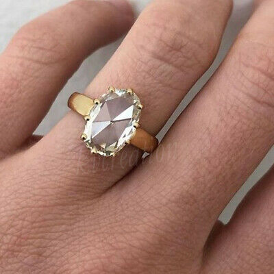 10k Yellow Gold Over 1.46 Ct Off White Rose Cut Oval Moissanite Engagement Ring