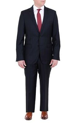 Mens Modern Fit Navy Blue Tonal Check Two Button Wool Suit