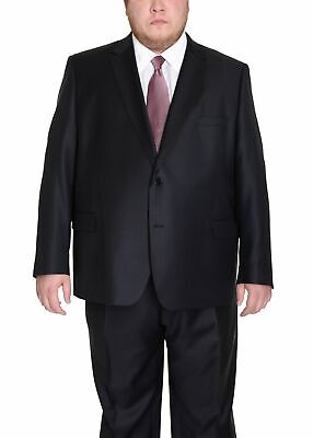 Men's Portly Fit Executive Cut Solid Black Two Button 2 Piece Wool Suit
