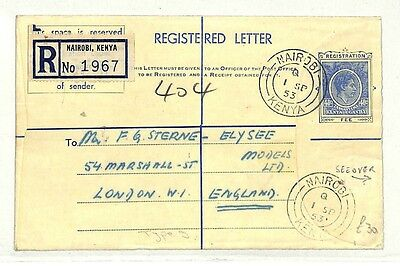 British KUT KGVI Stationery Cover MIXED REIGNS Registered 1953 KENYA Air AB208