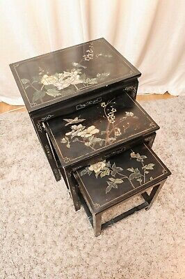 19th Century Chinese Cormandel lacquered decorative nesting tables with birds