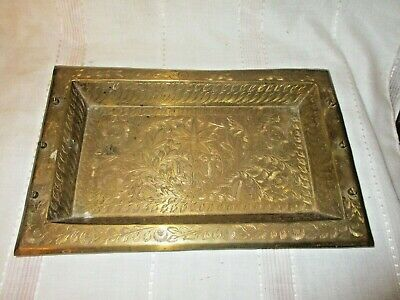 Vintage Decoratively Etched Rectangular Brass Vent Hole Cover Insert (?)