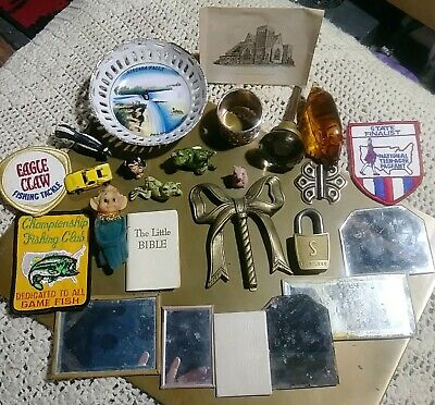 JUNK DRAWER LOT of VTG & atq misc. ~ patches, miniatures, mirrors, brass, MORE