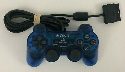 Sony PlayStation 2 PS2 Transparent Blue TESTED Controller - OEM Official Genuine