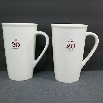 Set of 2 Starbucks Venti 20 Ounce Tall Latte Coffee Cups Mugs 2010