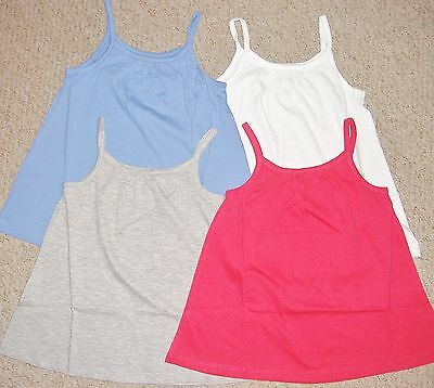 Girls cotton strappy vest top in white blue pink and grey in ages 4 -12 years