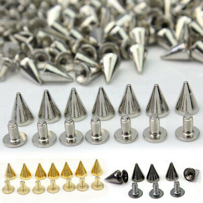 100x 10mm DIY Alloy Spots Cone Screw Studs Rivet Bullet Spikes For Bags Clothes