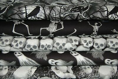 'Ghoulish Gatherings' Glow in the Dark Cotton Fabric by 1/4 Metre Halloween Goth